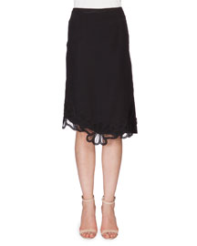 Crepe Skirt w/Lace Applique, Black
