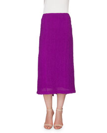 Textured Seersucker Pencil Skirt, Plum