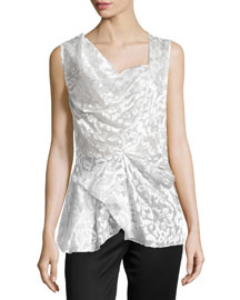Sleeveless Embroidered Satin Lace Top