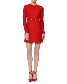Long-Sleeve Cutout-Waist W/Bows Dress, Red