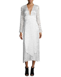 Embroidered Satin Lace Midi Dress, Soft White