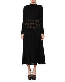 Studded Long-Sleeve A-Line Dress, Black