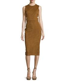 Cutout Stretch-Suede Midi Dress, Henna
