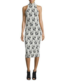 Embroidery-Print Mock-Neck Halter Dress, Black/White