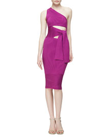 Ribbed One-Shoulder Tie-Front Dress, Orchid