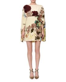 Kimono-Sleeve Printed Mini Dress, Milk