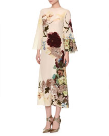 Floral-Print Bell-Sleeve Silk Capelet Dress, Milk