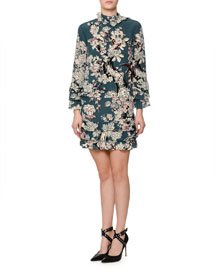 Long-Sleeve Tiered Floral-Print Dress, Teal Blue (Giada)