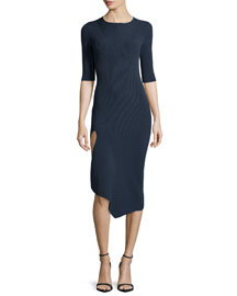 Ribbed Half-Sleeve Midi Dress w/Asymmetric Slit, Lake