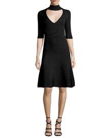 Knit Mock-Neck Dress w/Front Cutout, Black