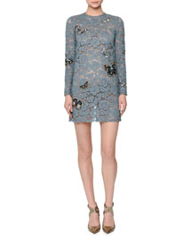 Butterfly-Embellished Lace Mini Dress, Ardesia (Dusty Blue)