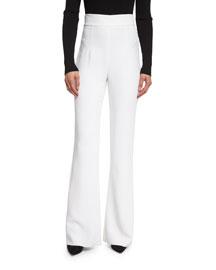 High-Waist Stretch-Cady Pants, Soft White