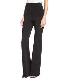 High-Waist Crepe Pants, Black