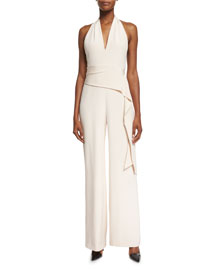Silk Crepe Open-Back Halter Jumpsuit, Blush
