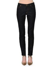 Rockstud-Trim Skinny Jeans, Navy Denim