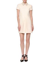 Short-Sleeve Pleated-Front Mini Dress, Ivory