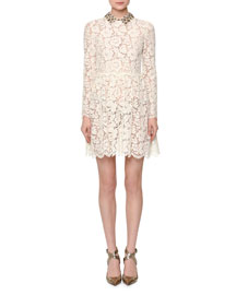 Long-Sleeve Heavy Lace Dress w/Collar, Ivory