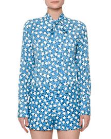 Star-Print Silk Georgette Blouse, Blue Star