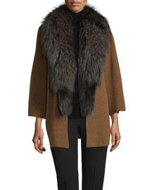 Knit Cardigan w/Fox Fur Collar, Tan