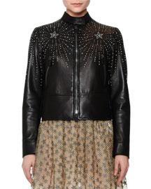 Star-Studded Leather Jacket, Black