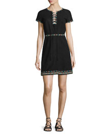 Embroidered Suede Lace-Up Dress, Black