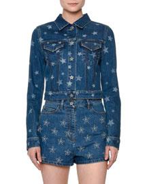Star-Print Denim Jacket, Blue