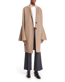 Wool-Blend Bell-Sleeve Coat, Camel