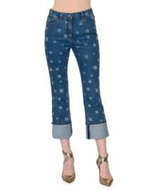 Star-Print Deep-Cuff Cropped Jeans, Blue