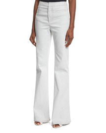Woven High-Rise Flared Pants, White