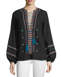 Aisha Embroidered Lace-Up Top, Black