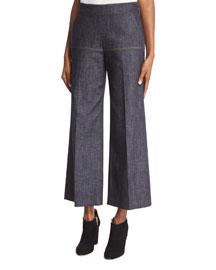 Cropped Wide-Leg Denim Gaucho Pants, Indigo