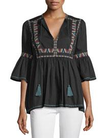 Geometric-Embroidered Tassel-Tie Top, Black