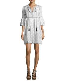 Embroidered 3/4-Sleeve Tassel-Tie Dress, White/Black