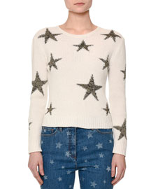 Star-Intarsia Cropped Sweater, Ivory/Gold