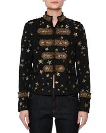 Star-Embellished Military Jacket, Black