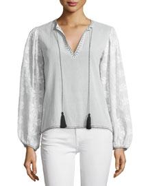 Salma Printed-Sleeve Tassel-Tie Top, White