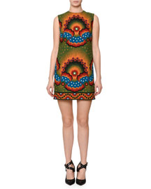 Sleeveless Star-Print Shift Dress, Green/Multi