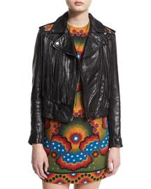 Fringed Zip-Front Leather Jacket, Black