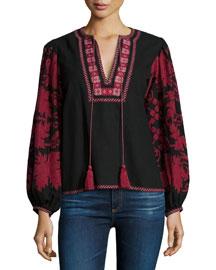 Salma Embroidered Tassel Blouse, Black/Cranberry