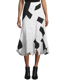 Woven Patchwork Midi Skirt, Black/White