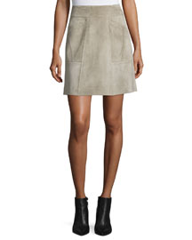 Patchwork Suede Mini Skirt, Fawn