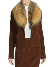 Corduroy Jacket w/Fox Fur Collar, Vicuna