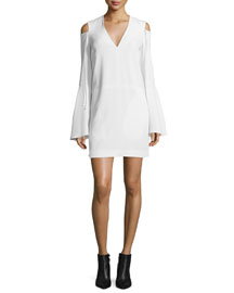 Bell-Sleeve Cold-Shoulder Dress, White