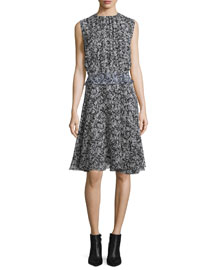 Sleeveless Printed Georgette Dress, Black/White