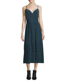 Sleeveless Zigzag-Print Crepe de Chine Cami Dress, Navy