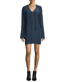 Zigzag-Print Long-Sleeve Crepe de Chine Dress, Navy