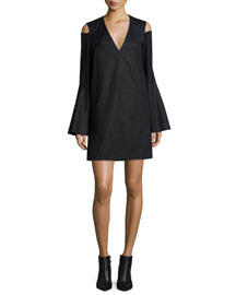 Bell-Sleeve Cold-Shoulder Dress, Black