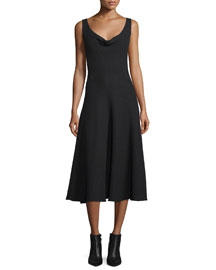 Sleeveless Cowl-Neck Midi Dress, Black