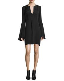 Bell-Sleeve Silk Shift Dress, Black