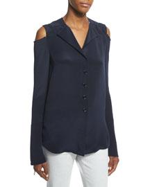 Long-Sleeve Cold-Shoulder Blouse, Navy